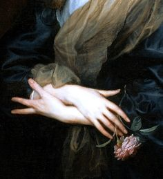 """""""Portrait of a Woman with Roses"""" (1635-1639) (detail) by Sir..."""