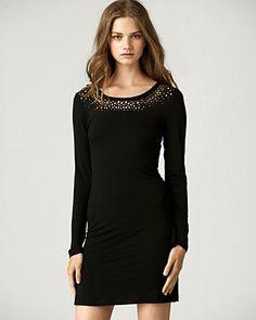Cutout long sleeve black dress