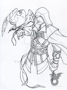 Assassin& Creed Coloring Book Unique Ezio Line Art by Krimzon 1 Dr Seuss Coloring Pages, Adult Coloring Pages, Coloring Books, Desenho Do Assassin's Creed, Melanie Martinez Coloring Book, Assassins Creed Tattoo, Wedding Coloring Pages, Mandala Coloring, Easy Drawings