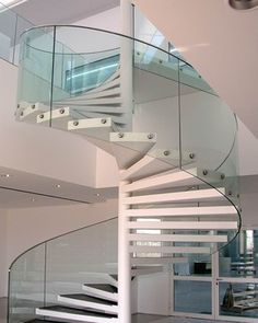 Beautiful Curved Glass Railing White Spiral Staircase