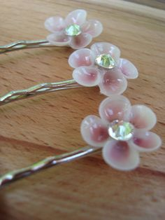 Cherry / Apple Blossom Seashell Flower Bobby Hair Pin on Etsy, $14.00