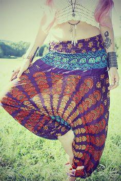 Handmade Harem Pants Sunset Gypsy Pants Peacock by Cloud9Jewels, $30.00