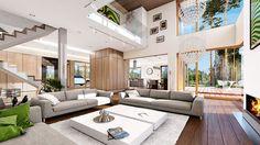 Projekt domu Dom z widokiem 269,44 m² - koszt budowy - EXTRADOM Dream House Interior, Dream Home Design, Modern House Design, Interior Design Living Room, Interior Paint, Living Room Modern, Home Living Room, Paint Your House, Home Fashion