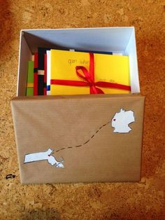 "Lena Sporn: ""My boyfriend lives in Boston, and I live in Germany, so it's a long (long) distance relationship. I made this box for him with 10 ""open when..."" Letters inside."""