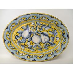"Tuscan 19X14"" Oval Serving Platter with an apple, lemon, and pear, Italian majolica/pottery handmade in Montelupo Fiorentino and available from Bonechi Imports"