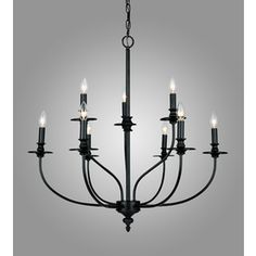 Westmore Lighting Spades 29-in 9-Light Oil Rubbed Bronze Standard Chandelier