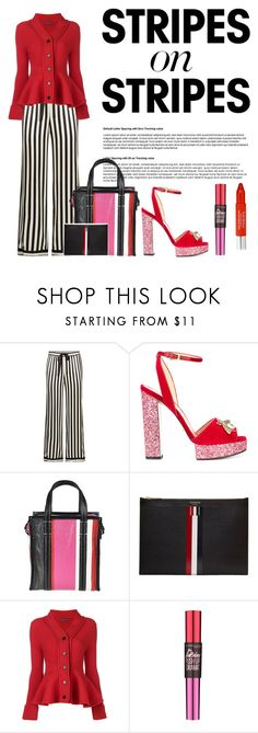 """""""stripesx2"""" by gizaboudib ❤ liked on Polyvore featuring Morgan Lane, Gucci, Balenciaga, Thom Browne, Alexander McQueen, Maybelline, Trish McEvoy, stripesonstripes and PatternChallenge"""