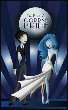 Poster con alguna reminiscencia art deco de El cadáver de la novia