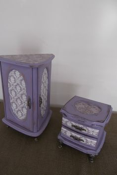 Lovely Lavender and Grey Toile hand painted One of a Kind jewelry box set on Etsy, $79.00