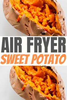 Cooking sweet potatoes doesn't have to be a daunting task when you have an air fryer in your kitchen! This Air Fryer Sweet Potato recipe results in fluffy, scrumptious sweet potatoes every single time! #sweetpotato #airfryersweetpotato #whole30 #whole30sweetpotato #paleo #vegan #vegetarian Air Fry Recipes, Air Fryer Dinner Recipes, Ninja Recipes, Air Fryer Recipes Easy, Vegan Recipes Easy, Baby Food Recipes, Freeze Sweet Potatoes, Sweet Potato Dishes, Cooking Sweet Potatoes
