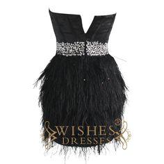 A-line Satin Black Ostrich Feather Cocktail Dress/ Short Prom Dress Am179