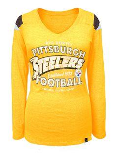 Pittsburgh Steelers Women's Fade Established Gold Longsleeve Tri-Blend Tee