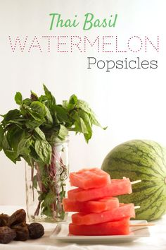 These Thai Basil Watermelon Popsicles are like summer on a stick! Sweetened with date syrup for a guilt-free treat. Healthy Vegan Desserts, Vegan Appetizers, Vegan Dessert Recipes, Delicious Vegan Recipes, Sweets Recipes, Raw Food Recipes, Healthy Snacks, Vegan Foods, Appetizer Recipes