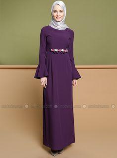 Broş Detaylı Elbise - Mor - Puane