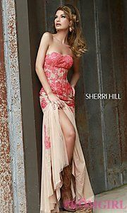 Buy Strapless Embroidered Lace Corset Dress by Sherri Hill at PromGirl