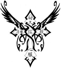 Winged Cross Tattoo Design