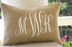 Burlap Monogram Pillow Covers -Custom Lumbar Monogram Pillow Case- Cursive Three Letters Monogram Pillows- Initial Cushion Covers- Gift- Wedding Pillow Covers- Dorm Decor - Valentine Pillow -12x20 Amore Beaute http://smile.amazon.com/dp/B00N8MPIMW/ref=cm_sw_r_pi_dp_.eS.vb174JE4E