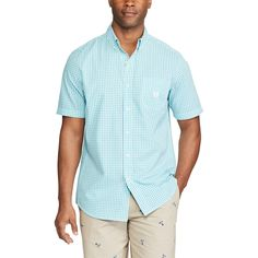 Men's Chaps Classic-Fit Tattersall Checked Easy-Care Button-Down Shirt, Size: Medium, Blue