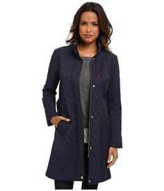 Cole Haan Diamond Quilted Belted Coat India Ink - 6pm.com