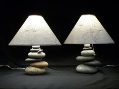 Bedside Lamps   .set of Balance Rock Lamps by mainerockguy on Etsy, $425.00