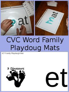 3 Dinosaurs has FREE CVC Word Family Playdough Mats. These CVC Word Family Playdough Mats printables included: 24 different words Word Family Activities, Cvc Word Families, Reading Activities, Literacy Activities, Teaching Reading, Literacy Centres, Playdough Activities, Reading Help, Kindergarten Learning