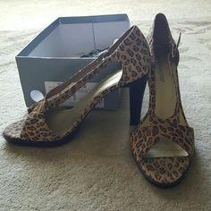 Donating soon Cheetah print heels Only worn around the house Worthington Shoes Heels
