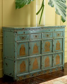 Shop Hand-Painted Wood Cabinet at Horchow, where you'll find new lower shipping on hundreds of home furnishings and gifts. Hand Painted Furniture, Home Decor Furniture, Cool Furniture, Home Furnishings, Accent Furniture, Turquoise Furniture, Vert Turquoise, Living Room Cabinets, Wood Cabinets