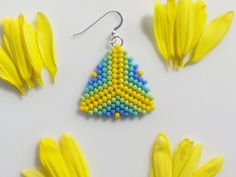 These beautiful peyote stitch seed bead earrings are crafted with love! Bright colors make these beaded earrings perfect for spring or summer