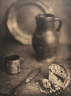 Gaston Lemaire, Still Life with Bread, Knife, Mug, Plate and Pitcher, 1930's