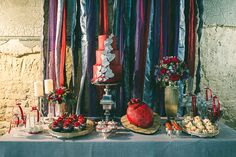 Cake and desert buffet by @Elizabeth Lockhart's Cake Emporium, styled by Andri Benson and ribbon backdrop by Faith Barber.   All Heart: a goth luxe inspiration shoot.   (c) Laura Babb - www.babbphoto.com