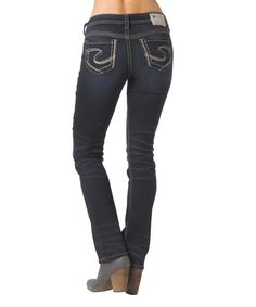 Loving this Silver Jeans Co. Dark Indigo Aiko Mid-Rise Slim Bootcut Jeans on #zulily! #zulilyfinds