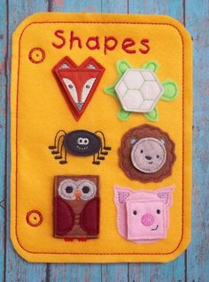 Learn Shapes Animal Teach Felt Game Busy Book Felt Board Flannel Board Page Storage w pieces Circle Triandle Square Hexagon Rectangle Oval by cabincraftycreations on Etsy Quilt Book, Felt Games, Book Libros, Shape Games, Baby Quiet Book, Sensory Book, Quiet Book Patterns, Fidget Quilt, Felt Quiet Books