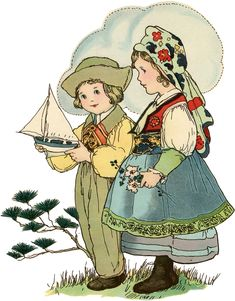 Today I'm sharing this Vintage Adorable Children in French Breton Costumes! This girl and boy wear Festive Breton Traditional Dress Costumes from Brittany, France. The boy in green britches and a puffy sleeved shirt with green collar and red and gold embroidered front holds a sailboat. The girl wears a flowered head scarf, a red...Read More »