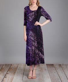 Take a look at this Dark Purple & Black Abstract Swirl Maxi Dress  - Plus Too today!