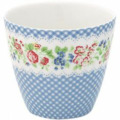 """GreenGate Stoneware Latte Cup """"Ivy"""" Blue (Spring/Summer 2012)"""