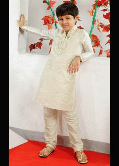 Cream kurta with churidar for boys . Buy at - www.gravity-fashion.com/15909-cream-kurta-with-churidar-for-boys.html