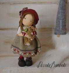 PiccoleBambole: Doll bear Christmas reindeer cold porcelain