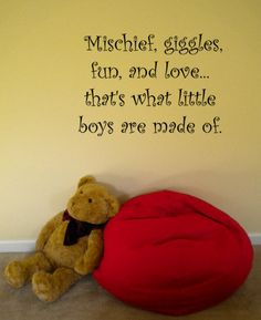 "Mischief, giggles, fun and love...That's what little boys are made of.  For the shared bedroom with a vinyl on the other side of the room saying ""Sugar and spice and everything nice...That's what little girls are made of."""