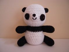 Crocheted Stuffed Amigurumi Panda Bear by juliescraftcorner