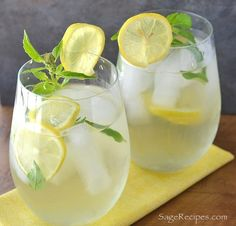 Lemon Basil & Ginger Iced Tea - refreshing infused 'spa water'