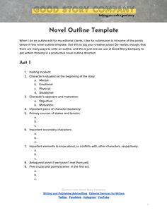 An easy and clear novel outline template that you can use to plan out your project. Set yourself up for success before you sit down to write! Writing Outline, Writing Plan, Book Outline, Book Writing Tips, Writing Prompts, Writing Resources, Writing Help, Writing Ideas, Writing Inspiration