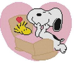 Cross Stitch PATTERN COLOR Snoopy Dog Woodstock Bird Baby Birth Valentine Heart #Resparkled