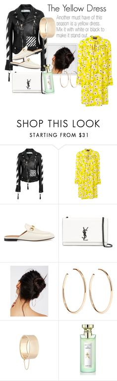 """""""The Yellow Dress"""" by tjkandou on Polyvore featuring Off-White, Rochas, Gucci, Yves Saint Laurent, Free People, Jennifer Fisher, Eddie Borgo, Bulgari and oneweekguide"""