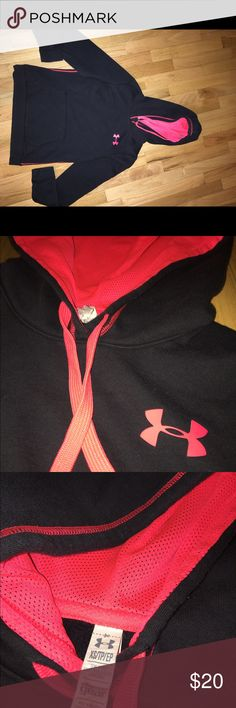 Under Armour Hoodie Very cute black and neon pink under armour hoodie , size xs, barely worn with no flaws , in perfect condition , make an offer I am usually able to negotiate on a price :) Under Armour Tops Sweatshirts & Hoodies