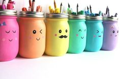 """You'll put a big smile on your kids' faces with these Kawaii Inspired DIY Painted Mason Jars. Kawaii is the Japanese term for """"cute"""" or """"charming,"""" and it's all too fitting for this easy mason jar craft! Kids Crafts, Diy And Crafts, Craft Projects, School Projects, School Ideas, Easy Crafts, Pot Mason Diy, Mason Jar Crafts, Diys With Mason Jars"""