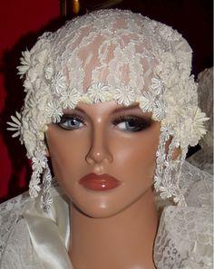 1920s Hat Flapper Cloche Hat Antique White Lace by ludascrafts, $69.99