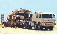 Tatra T 816 Force Návěs-podvalník 5-nápravový model ST 70-93 L3 od firmy Kögel s tankem M1A2 Abrams