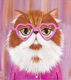 Pintura de arte popular de gato Persa Original de gafas en forma de corazón
