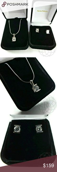 """Vintage SS Cubic Zirconia Pendant & Earrings Set Beautiful Vintage Sterling Silver & Cubic Zirconia Pendant & Earrings Set  ▪ 925 Sterling Silver  ▪ Sterling chain has extender at one end allowing you to adjust the length between 18 1/2"""" inches long - 20 1/4"""" inches long  ▪ Original Black Velvet Boxes  ⚠ All measurements are approximate  💥 New Vintage condition, never worn   ✋ All Sales Final 