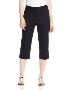 "Rafaella Women's Petite Double Weave Slim Capri, Midnight Navy, 10 Petite. The Rafaella slim capris are perfect to wear to work or wear on the weekend. These double-weave capris have the Rafaella fit you know and love. Made of 58% Cotton, 39% Polyester, and 3% Spandex, these calf-length pants have added stretch to flatter your curves and give you ultimate comfort. These capri dress pants feature a 21"" inseam with a belt-loop waistband, 15"" leg opening, off-seam front pockets and back welt..."
